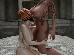 Two saucy fairy-tale babes with big..