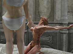 Two horrid orc bimbos enjoy pleasuring..
