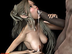 Horny monster fucks a pretty babe..